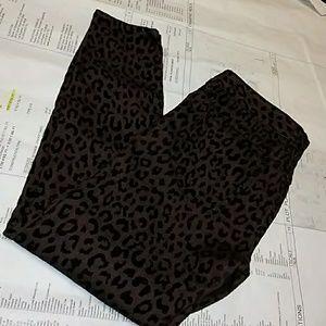 Free People Brown & Black Flocked Leopard jeans